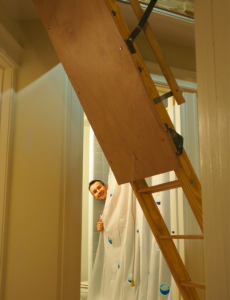 john-in-shower-attic-stairs