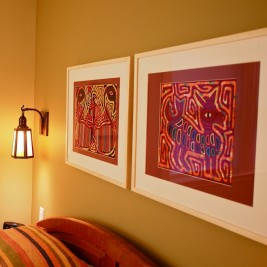 Reframed Artwork and Mission Style Lighting