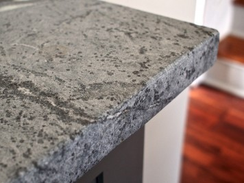 gray soapstone countertops in honed finish with eased edges